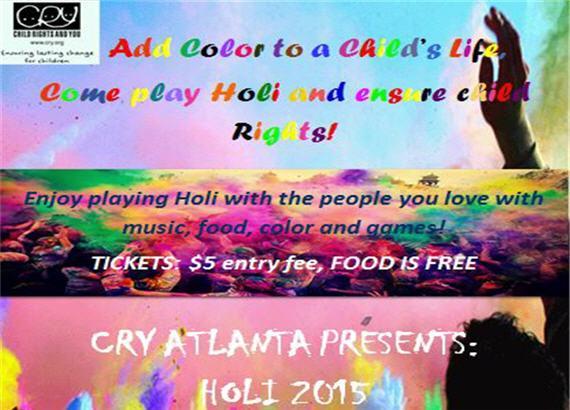 CRY Atlanta Presents Holi – March 7th