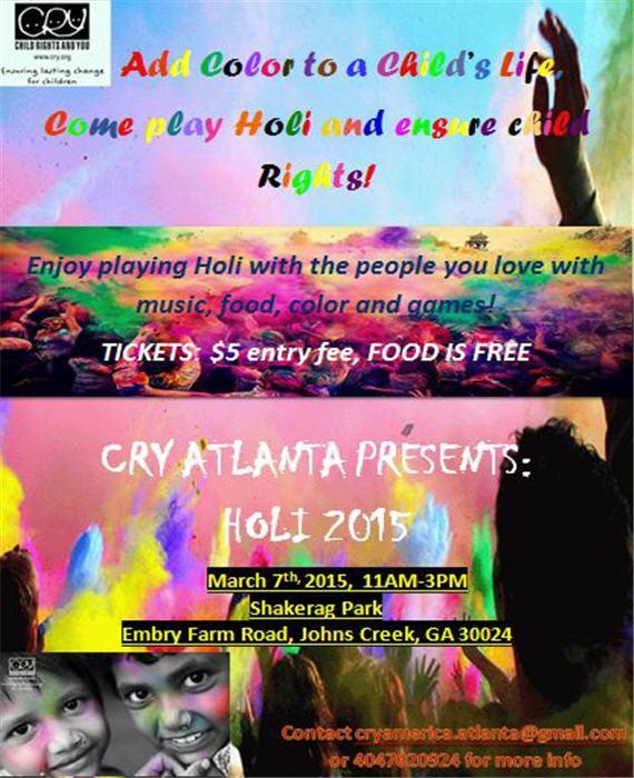 CRY Atlanta Presents Holi 2015